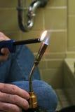 2点燃的火炬焊接 免版税库存照片