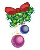 2球圣诞节装饰结构树 图库摄影