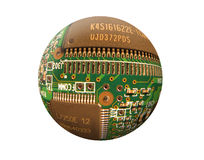2球状的电路 免版税库存图片