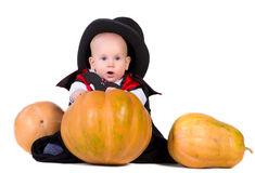 2男婴pumpking的万圣节 免版税图库摄影