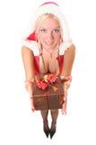 2白肤金发的女孩性感的圣诞老人 库存图片