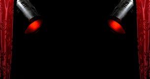 2盏窗帘红色聚光灯 免版税库存图片