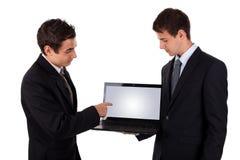 2空白企业膝上型计算机人显示 库存照片