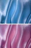 2背景蓝色被装饰的桃红色缎集 库存照片
