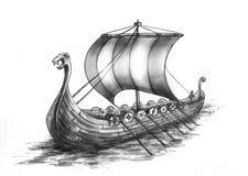 2船北欧海盗 库存图片