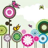 2蝶粉花爱无缝的佩兹利 向量例证