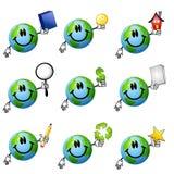 2被分类的动画片地球面带笑容 库存图片