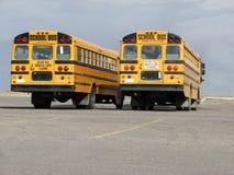 2辆回到公共汽车结束学校视图 库存照片