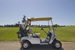 2辆购物车高尔夫球绿色 免版税库存照片
