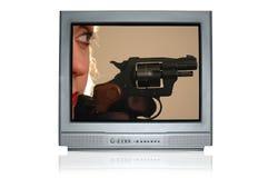 2首民谣电视暴力 免版税库存照片