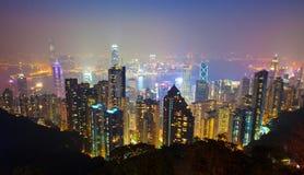 2香港晚上峰顶场面 库存照片