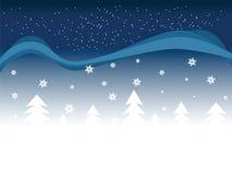 2 śniegu tła drzewa Fotografia Stock