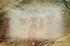 2 αρχαία εθνικά έργα ζωγραφικής σταθμεύουν το βράχο pha taem Στοκ Εικόνα