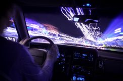 2 ελαφριά ίχνη οδηγών αυτο&kappa Στοκ Φωτογραφίες
