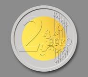 2 ευρώ νομισμάτων Στοκ Φωτογραφίες