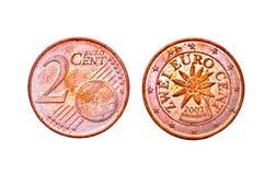 2 ευρώ πηνίων σεντ Στοκ εικόνα με δικαίωμα ελεύθερης χρήσης
