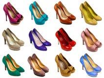 2 θηλυκά πολύχρωμα παπούτσια Στοκ Εικόνες