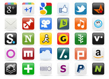 2 μέσα κουμπιών κοινωνικά Στοκ Φωτογραφία