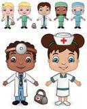 2 νοσοκόμες γιατρών που τί&the διανυσματική απεικόνιση