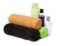 2 πετσέτες ουσίας λουτρώ στοκ εικόνες