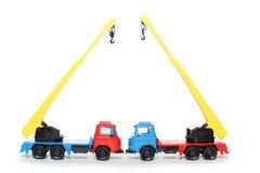 2 πλαστικά truck γερανών του Μπέν& Στοκ Εικόνες