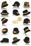 2 σκιαγραφίες καπέλων Στοκ εικόνες με δικαίωμα ελεύθερης χρήσης