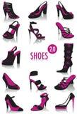 2 σκιαγραφίες παπουτσιών Στοκ Εικόνες