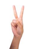 2 το μετρώντας δάχτυλο δίνει τη σωστή s γυναίκα αριθμού Στοκ Φωτογραφία