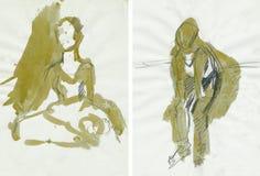 2 χορευτές grunge Στοκ Εικόνες