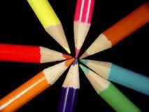 2 χρωματισμένα μολύβια Στοκ εικόνα με δικαίωμα ελεύθερης χρήσης