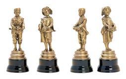 2 античных бронзовых figurines музыкантов. Стоковое Фото