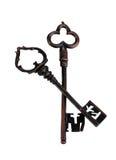 2 античных ключа Стоковое Изображение