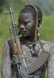 2 африканских люд mursi Стоковые Изображения RF