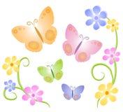 2 бабочки искусства закрепляют цветки иллюстрация вектора