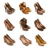 2 бежевых коричневых женских ботинка Стоковая Фотография