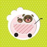 2 брать медведей младенца в детской дорожной коляске Стоковое Изображение RF