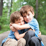 2 брать обнимая в парке Стоковое Фото