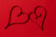 2 бумажных сердца от выше Стоковые Изображения RF