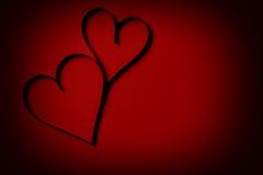 2 бумажных сердца от выше Стоковые Фотографии RF