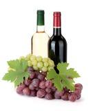 2 бутылки и виноградины вина Стоковое фото RF