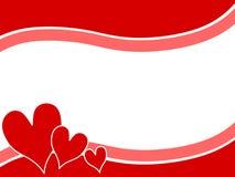 2 Валентайн swoosh сердец граници предпосылки Стоковые Изображения