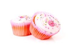 2 вкусных розовых сладостных пирожня Стоковая Фотография