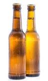 2 влажных бутылки пива на белизне Стоковые Изображения RF