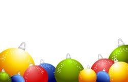 2 глянцеватого орнаментов рождества предпосылки круглых Стоковое Изображение RF
