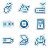 2 голубых иконы электроники контура установили сеть стикера Стоковая Фотография