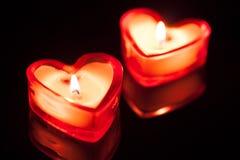 2 горящих сердца свечки Стоковые Фото
