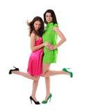 2 девушки в платьях сбора винограда Стоковая Фотография