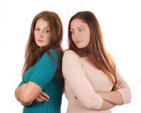 2 девушки в quarrelc Стоковые Фотографии RF