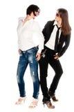 2 девушки на белизне Стоковые Фотографии RF