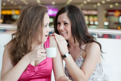 2 девушки сидя в кафе Стоковые Фото